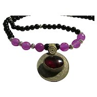 Persian Coin Gemstone Pendant with Black and Purple Bead Necklace, 24""