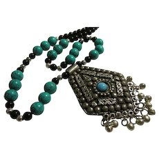 """Middle Eastern Artisan Crafted Metallic Pendant-Necklace with Dangling Bells, 24"""""""