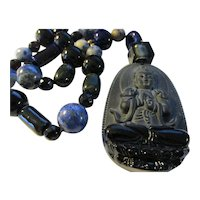Goddess of Mercy Black Obsidian Pendant with Sodalite-Agate-Ceramic-Glass Bead Necklace, 22""