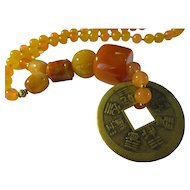 Vintage Chinese Coin Pendant with Orange-Yellow Gemstone Bead Necklace, 18""