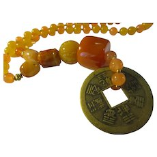 """Vintage Chinese Coin Pendant with Orange-Yellow Gemstone Bead Necklace, 18"""""""