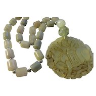 Translucent Jade Pendant of Man Riding Ox with Jade Tube Bead Necklace, 22""