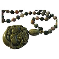 Olive Green Jade Foo Lion Dog Pendant with Indian Agate and Dzi Bead Necklace, 24""
