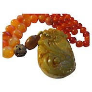Brown Jade Dragon Beast Pendant with Jade and Agate Bead Necklace, 22""