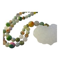 White Jade Pendant of Cherry Blossoms with Multi-Colored Gemstone Bead Necklace, 18""