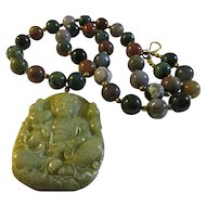 Kwan Yin Olive Green Jade Pendant with Indian Agate Bead Necklace, 20""