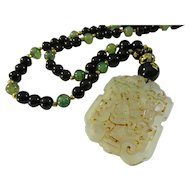 Lacy Jade Pendant with Etched Golden Dragon Agate-Dragon Vein Agate-Black Onyx Bead Necklace, 28""