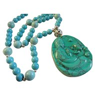 Turquoise Howlite Buddha Pendant and Bead Necklace, 22""