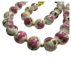 Vintage Hand Painted Pink Rose Floral Ceramic Bead Necklace, 17""