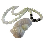 Lavender Jade Monkey Holding Peach Pendant with Jade Bead Necklace, 22""