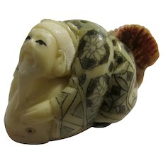Old Man with Long Beard Riding White Fish Netsuke-Figurine, 1 3/4""