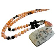 Vintage Chinese Elongated Pottery Shard Pendant with Pink-Colored Coral and black Agate Bead Necklace, 26""