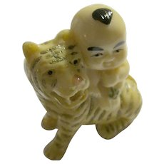 Little Boy Riding Tiger Netsuke-Inryo-Ojime Bead, 2""