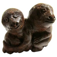 A Paif of Hugging Monkeys Wooden Netsuke, 2""