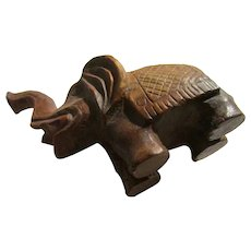 Wooden Elephant Netsuke with Raised Trunk, 1 1/2""
