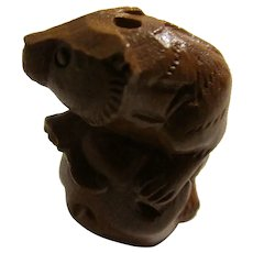 Carved Wooden Muskrat Netsuke Holding His Tail, 1 1/2""