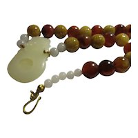 White Jade Double Dragon Pendant with Carved Honey Jade-Agate Bead Necklace, 22""