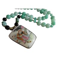 Vintage Chinese Pottery Shard Pendant with Czech Glass Buddha Charms, Jade and Agate Bead Necklace, 26""