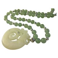 Carved White Jade Dragon Pendant with Celadon Green Jade Bead Necklace, 22""