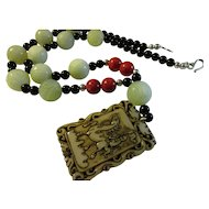 Carved Jade Pendant of the Monkey King with Celadon Green Jade-Red Grass Coral-Black Agate Bead Necklace, 24""