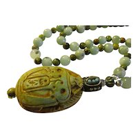 Egyptian Scarab Beetle Charm with Mini Turquoise and Cats Eye Stone Bead Necklace, 28""
