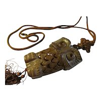 Carved Brown Jade Owl Japanese Inryo with Cording and Tassel
