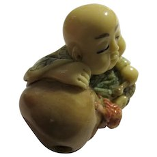 Netsuke-Inryo of Monk Preist Resting on Large Temple Bell, 1 1/2""