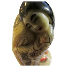 "Japanese Ivory-Like Resin Netsuke of Court Maiden from ""Tales of Genji"", 2 1/4"""