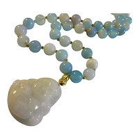 Laughing Buddha Jade Pendant with Arctic Blue Agate Bead Necklace, 18""