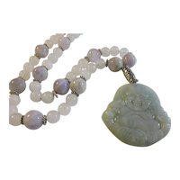Grayish-Green Carved Jade Pendant of the Laughing Buddha with Amethyst and White Jade Bead Necklace, 24""