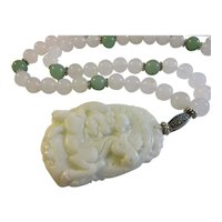 Chinese White Jade Pendant of Monkey King on Horse with Jade Bead Necklace, 23""