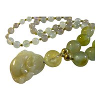 Little Buddha Jade Pendant with Jade and Gemstone Bead Necklace, 20""