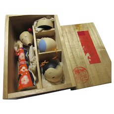 Vintage Japanese Kokeshi Toy Doll Kit, 5 Piece Set