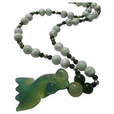 "Green Koi-Carp Charm-Pendant with Cats Eye Bead Necklace, 22"""