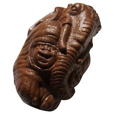 Wooden Elephant Netsuke with Long Trunk, 1 3/4""