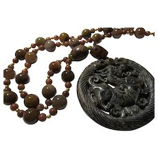 Coco Brown Carved Jade Dragon Pendant with Brown Agate Bead Necklace, 26""