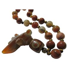 """Carved Agate Koi-Carp Charm-Pendant Necklace with Agate Beads, 18"""""""
