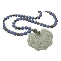 White Jade Money Bat Pendant with Synthetic Blue Lace Agate Bead Necklace, 22""