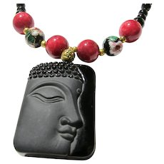 Black Obsidian Buddha Pendant with Cloisonne and Gemstone Bead Necklace, 18""