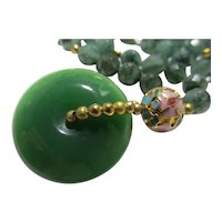 Chinese Green Jade Pi-Donut Pendant with Faceted Green Aventurine Bead Necklace, 18""