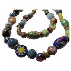 "Handmade Ceramic Bead Necklace, 24"""
