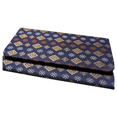 """Japanese Navy Blue Brocaded Foldover Wallet with Geometric Motif, 5 7/8"""" x 3 1/4"""""""