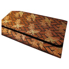 """Japanese Orange-Gold Brocaded Foldover Wallet with Flying Phoenixes, 5 7/8"""" x 3 1/4"""""""