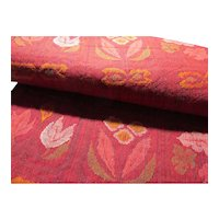 """SALE - Japanese Red Fabric """"Obi"""" Belt with Floral Motif, 130"""" x 12"""""""