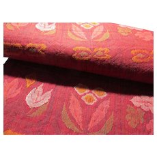 """Japanese Red Fabric """"Obi"""" Belt with Floral Motif, 130"""" x 12"""""""