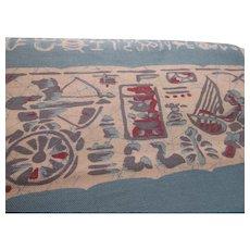 "Japanese Canvas Fabric ""Obi"" with Batik Egyptian Motifs"