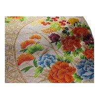 "SALE - Vintage Exquisite Japanese Brocaded Floral Bouquet Obi-Belt-Sash, 140"" x12"""