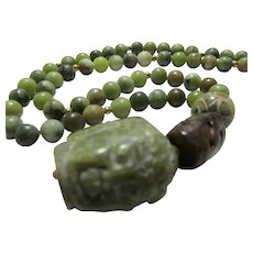 Green Jade Buddha Head Charm-Pendant with Serpentine Jade Bead Necklace, 24""