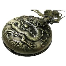 Bronze Metallic Pocket Watch Etched with Mythical Dragon