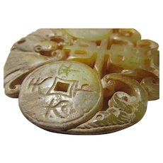 Carved Yellow Jade Pendant of Money Bat and Good Luck Coins, 2 1/2""
